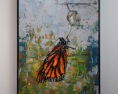 Monarch — Hand Painted — Original Acrylic Painting — Hand Signed by Artist Michael Glass  — Title of Artwork: Monarch. Beginning.