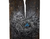 Nest Painting — Hand Painted Original Art — One of a Kind Artwork Created on Reclaimed Barnwood — Hand Signed by the Artist: Michael Glass