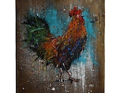 Rooster. Hand painted art on reclaimed barnwood