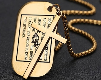 Black Gold Serenity Prayer Necklace Dog Tag with Box Chain Crazy Design Pendant for Mens Boys Christian Jewelry