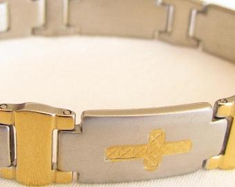 Sideways Cross Bracelets Silver Gold Engraved Meaning Horizontal Cross Bangle Cuff Stainless Steel Heavy Thick Bracelet Men Boys Jewelry