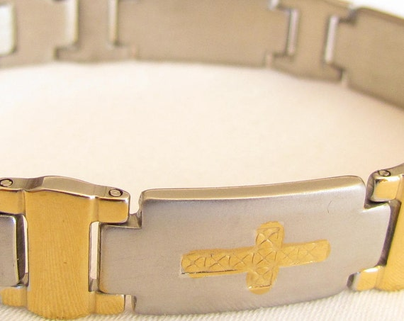 Cross Engraved Silver Gold Bracelet Stainless Steel Heavy Thick Mens Bracelet Boy's Bangle Christian Jewelry - Saint Michaels Jewelry