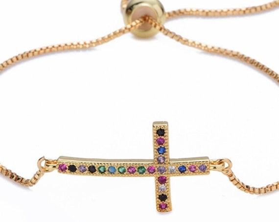 Rainbow Sideways Cross Bracelet rainbow cross bracelets bangles jewelry cz zircon snake chain adjustable chain Horizontal Cross of Jesus