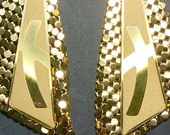 Gold Cross Earrings Crossroads Party Handmade One of a Kind Design Crossed Roads Style Womens Christian Dinner Jewelry Cross of Jesus