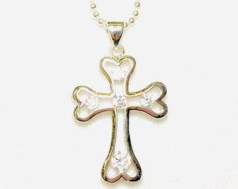 Silver 5 Stone Cross Necklace Crystal Inset Rhinestone with CZ Look Pendant for Woman Girls Chain Wedding Christian jewellery Jewelry