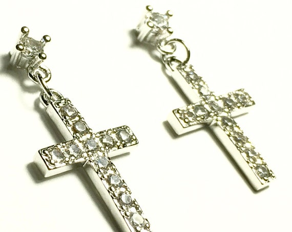 Silver Cross Earrings Dainty Drop Dangle Cross Studs Rhinestone Cast CZ Look Post Design Elegant Womens jewellery Girls jewelry jesus