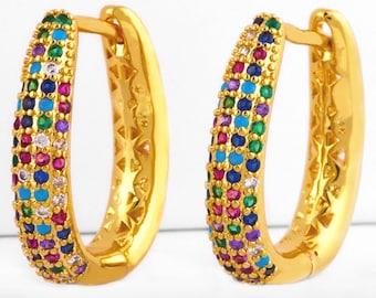 Hoop Earrings Rainbow Dangle Multi Color CZ Crosses Small for Women Girls Best Price Weddings Cheapest Bridesmaid jewellery jewelry