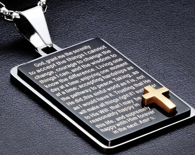Featured listing image: Heavy Black Full Serenity Prayer Necklace Dog Tag Inset Gold Cross with Chain Full Prayer Design Pendant for Mens Boys Christian Jewelry