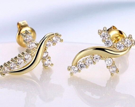 Infinity Stud Cross Earring CZ Tiny Gold Crosses Small Zircons for Women Girls Weddings jewellery jewelry