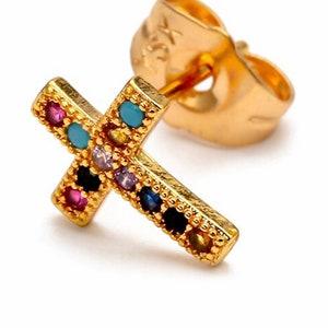 Silver RoseGold CZ Cross Earrings Dainty Drop Dangle Studs Cast CZ Post Design Elegant Womens jewellery Girls jewelry jesus