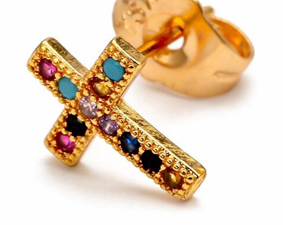 Dainty Rainbow Stud Cross Earring Multi Color CZ Crosses Small for Women Girls Best Price Weddings Cheapest Bridesmaid jewellery jewelry