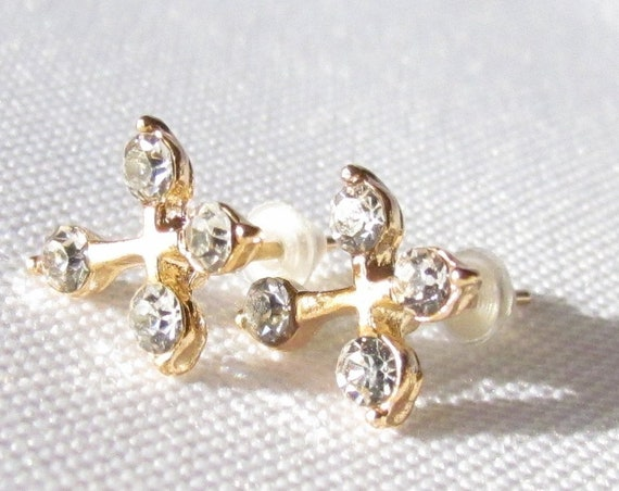 Gold 4 Rhinestone Cross Earrings Dainty Design Over the top elegant jewelry for Weddings Bridesmaids Gifts jewellery for young girls
