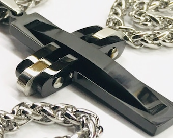 Cross Necklace Heavy Black Prayer Necklace Super Thick with Chain Crazy Design Pendant for Mens Boys Christian Jewelry Jewellery