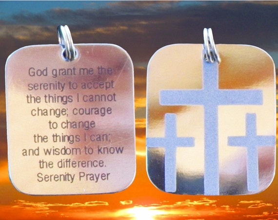 Silver Serenity Prayer Necklace 3 Crosses Calvary Triple Cross Pendant for Mens Boys Christian Jewelry Jewellery