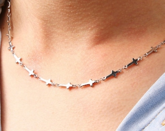 Sideways Cross Silver Tiny Cross Necklace and Earrings Cross Chain Small Stainless Steel choker Women Girls Meaning of the Horizontal Cross