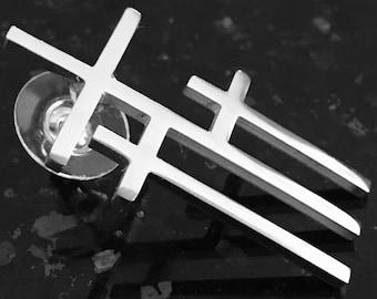Cross Pin 3 Crosses of Calvary Gol Silver Triple Cross Hat Pin Shirt Collar Mens Boys Women Girls Fashion Christian Jewelry jewellery