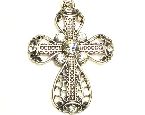 Silver 5 Stone Cross Necklace Filigree Crystal Inset Rhinestone with CZ Look Pendant for Woman Girls Chain Wedding jewellery Jewelry