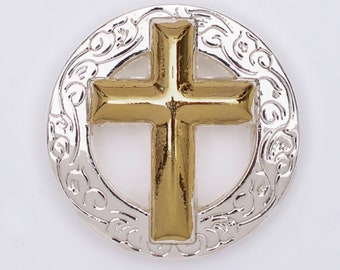 Silver Gold Cross Concho Belt Accent for Men Cast Western Stainless Steel 2 Color Super Round Edge Jesus Jewelry Jewellery