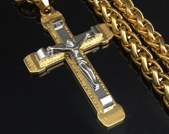 Gothic Crucifix Cross for Men Necklace Silver Gold Heavy Stainless Steel Chain Thick Braided Rope Jewelry for Boys Hip Hop Jesus