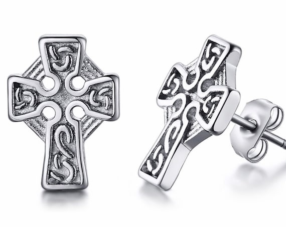 Silver Cross Earrings Celtic Knot Studs Antique Irish Accents Post Style Jewelry for Weddings Bridesmaids Jewellery for Women
