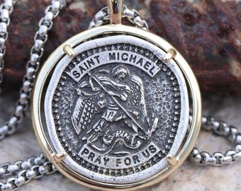 Saint Michael Medal Silver St Michaels Medal Cast Medallion 3mm Braided Stainless Steel Chain Patron Saint Police Officers Soldiers