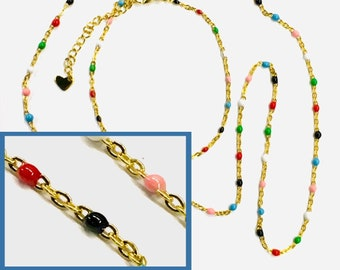 Rainbow Yoga Chain Bracelet Chakra Necklace Choker Set Vintage Boho Bohemian Hippie Colored Beads Sideways Gold Charm Women Girls Cuff