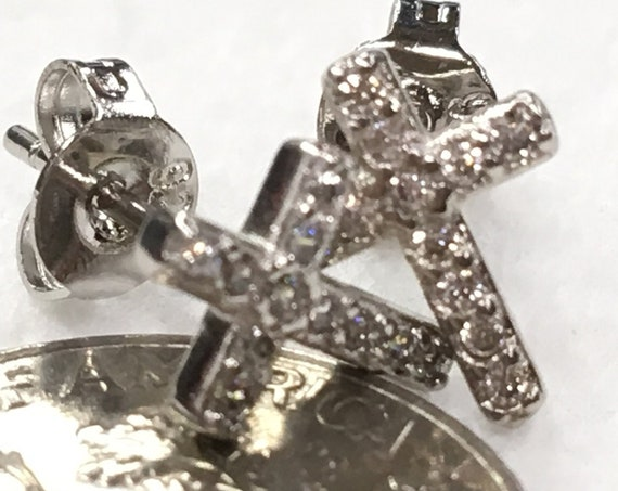 Cross Stud Earrings Super Tiny Dainty Petite with Crystal Inlaided Rhinestones Wedding for Girls jewelry bridesmaids jewellery