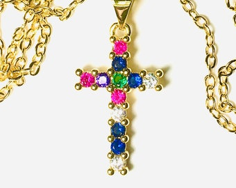 Rainbow Cross Necklace Pendant Multi Color CZ Crosses Small for Women Girls Best Price Weddings Cheapest Bridesmaid jewellery jewelry