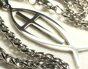 Cross Fish Necklaces for Men New Fashion JESUS Silver Ichthus Ichthy Greek Jesus Fish Round Pendant Necklace jewellery jewelry
