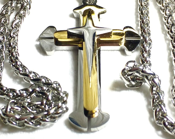 Cross Necklace Copper Silver Gold for Men Boys Stainless Three 3 Layer Design Steel Chain Cross of Jesus Jewelry Jewellery