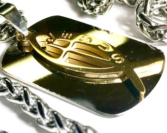 Jesus Fish Cross Dog Tag Necklace Two piece Silver and gold Medallion with Stainless Steel Heavy Braided Chain Cross of Jesus