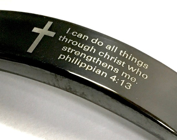 Bracelet for Men Silver Black Bangle Engraved I can do anything through Christ who strengthens me Stainless Steel Cuff Philippians 4:13