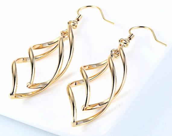 Silver Gold Hoop Earrings Dangle 2 Infinity Twist Pendant Necklace for Women Girls Drop Long Earring Jewelry jewellery