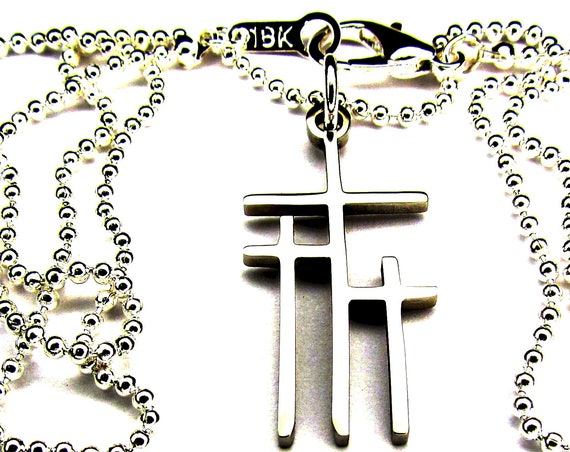3 Crosses of Calvary Necklace and Earrings Silver Gold Triple Cross Pendant for Women Girls Christian Jewelry Cross of Jesus Jewellery