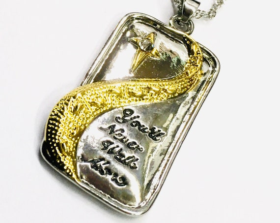 Gold Raised Cast Two Tone Footprints You'll Never Walk Alone Pendant Necklace Engagement Wedding Birthday Medallion with Chain