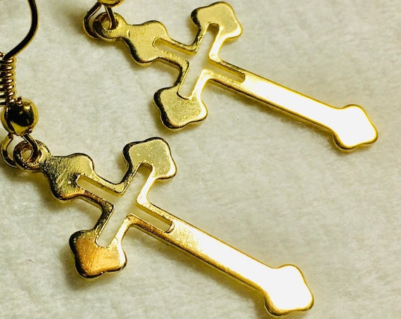 Super Light Weight Gold Drop Cutout Cross Dangle Earrings Elegant Women Girls