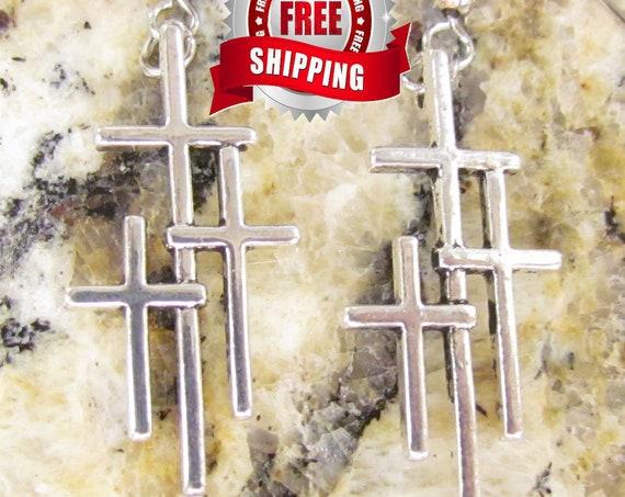 Silver Cross Earrings 3 Crosses and Necklace Vintage Boho Women Men Small Calvary 3 Cross Triple Cross Earrings Girls Jewelry jewellery