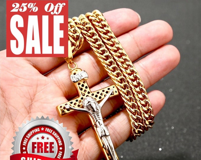 Featured listing image: Large Crucifix Cross Necklace Orthodox Crucifix for Men Silver Gold Heavy Stainless Steel Curb hip hop Chain Jewelry Boys Cross of Jesus