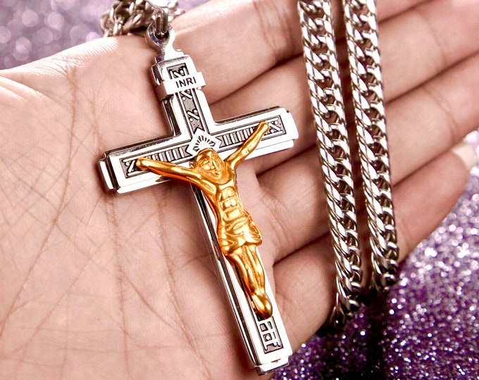 Featured listing image: Large Gothic Crucifix Cross Necklace for Men Silver Gold Heavy Stainless Steel Thick Curb Chain Jewelry Boys Jewellery Cross of Jesus