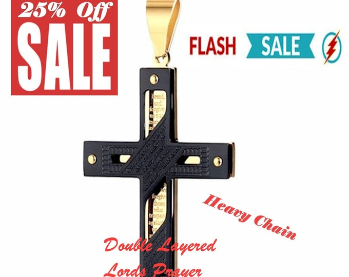 Featured listing image: Lords prayer Crucifix Cross Mens Necklace Gold Black Heavy Stainless Steel Thick hip hop Wheat Chain Jewelry Boys Catholic Orthodox Jesus