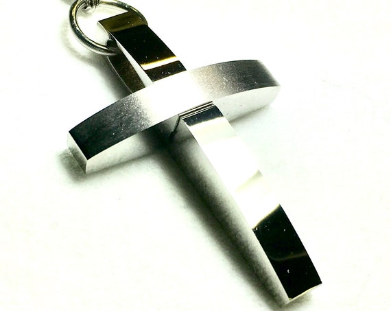 Cross Necklace for Men Silver Modern Classic Pendant All Stainless Steel Boys Heavy Braided Chain Christian Jewelry
