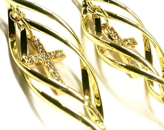 Cross Hoop Earring for Women Silver Gold Double Twist Dangle Rhinestone Cross Jesus