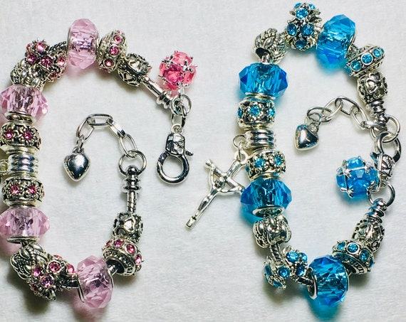 Silver Boho Cross Charm Bracelet Pink Blue Color High Quality Inexpensive Jewelry for Women Jewellery for Girls Christian Jewelry jewellery