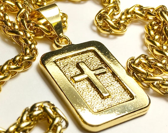 Gold Raised Cast Cross Dog Tag Necklace Heavy Thick Old World Look Medallion with Gold Stainless Steel Heavy Braided Chain Cross of Jesus