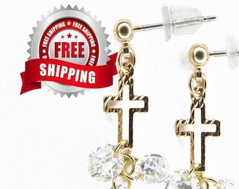 Zircon Cross Stud Earring CZ Tiny Gold Hammered Hollow Crosses Small Dangle Zircons for Women Girls Weddings jewellery jewelry
