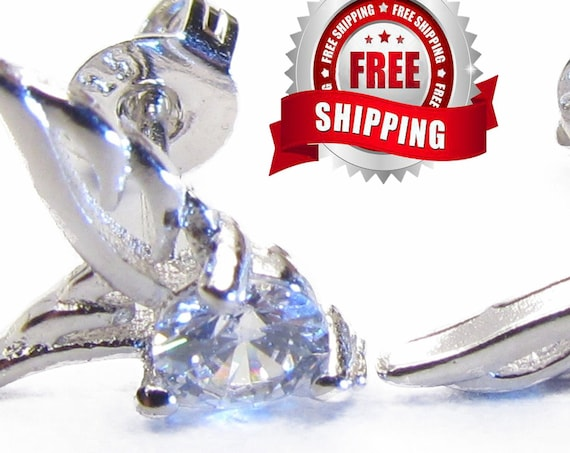 Stud Earrings Angel Wing Dainty Silver Cast Post Elegant Sparkling Rhinestone Modern Womans Girls Christian Jewelry jewellery
