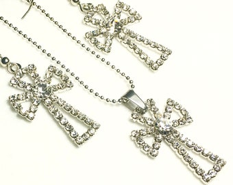 Cross Earrings Silver Wedding Set Dinner Party Jewelry Inlaid Rhinestone Crystal Cross Earrings and Necklace Modern Womans Girls Christian