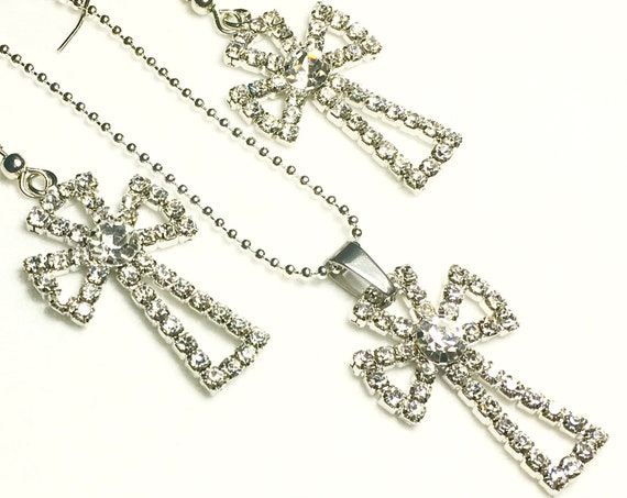 Silver Wedding Dinner Party Inlaid Rhinestone Crystal Cross Earrings Necklace Modern Womans Girls Christian Jewelry