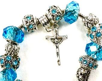 Best Price Silver Boho Cross Charm Adjustable Bracelet Pink Blue Color High Quality Inexpensive Jewelry Women Girls Hippie Bohemian Chakra