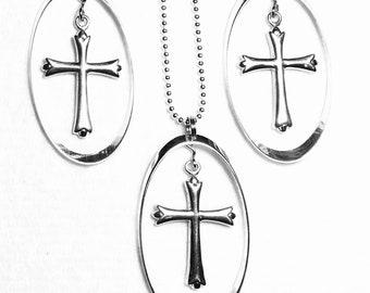 Cross Hoop Earrings Sterling Silver Gold Necklace Set Silver Twisted Hoop Old World Cross Woman Girls Chain Wedding jewellery Jewelry